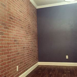 Faux brick wall panels from Home Depot …