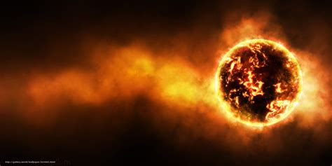 Download Wallpaper Cataclysm, Red-hot Planet, Temperature