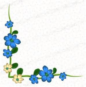 Blue Floral Corner Borders