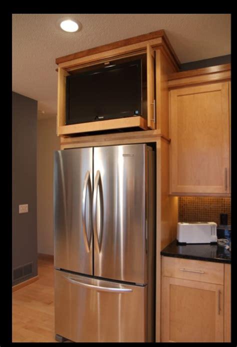 kitchen cabinet  refrigerator space tv tv