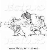 Flies Fly Coloring Swatting Cartoon Outline Behind Huge sketch template