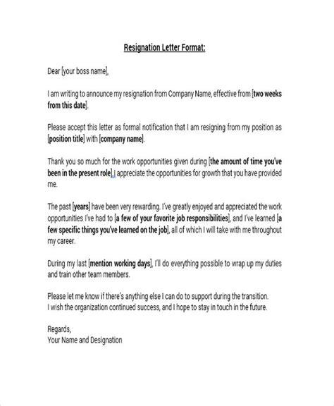 standard letter format 8 standard resignation letter templates free word pdf 27745