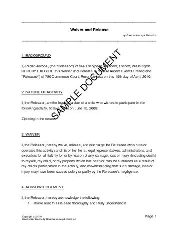waiver  release usa legal templates agreements