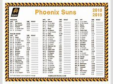 Printable 20182019 Phoenix Suns Schedule