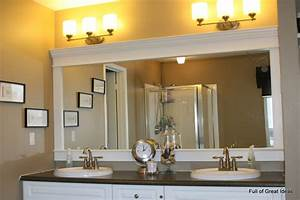 Full of great ideas how to upgrade your builder grade for Framing bathroom mirror