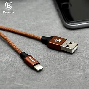 Brown Baseus 8 Pin Charging Sync Data Braided Cable For