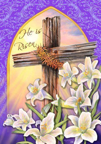 he is risen easter religious cross lily house flag 28 x 40