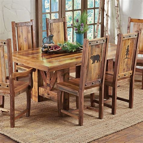 Country Style Kitchen Furniture by Western Trestle Table Chairs Country Rustic Wood Log