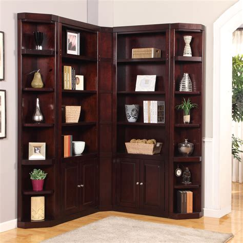 Corner Bookcase by House Boston Corner Bookcase Merlot Bookcases