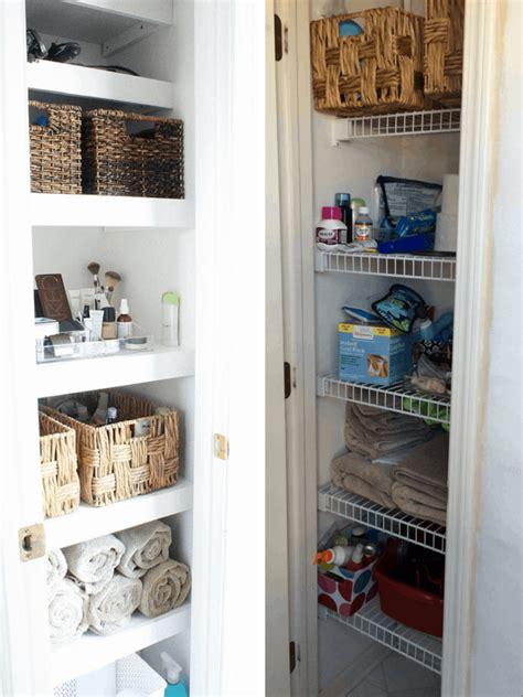 closet bathroom bathroom linen closet organization diy