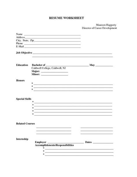 printable blank resume forms career termplate builder