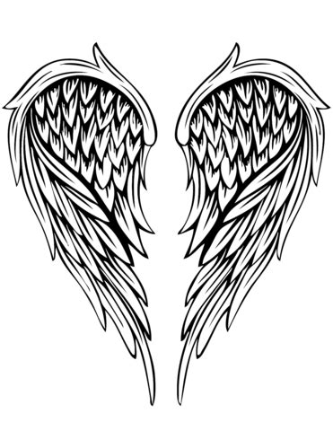Angel Wings Tattoo coloring page from Arts & Culture category. Select from 29377 printable