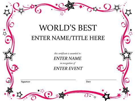 funny award certificates templates worlds