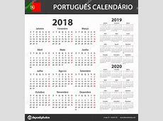 Calendário Português para 2018, 2019 e 2020 Modelo de
