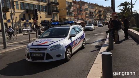 3x French Police Cars Responding Urgently // Police