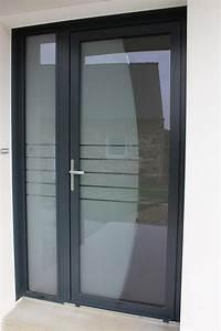 porte d39entree aluminium sur mesure vitree ou pleine With porte d entrée automatique