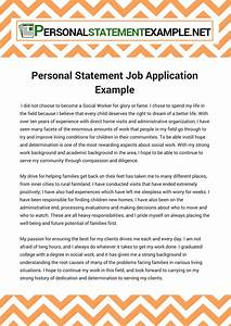 Personal Statement Job Application Example