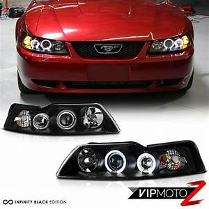 1999 2000 2001 2002 2003 2004 Ford Mustang V6 V8 Black Halo Rim Headlights Lamps 7425935891814 ...