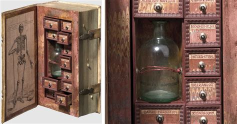 century poison cabinet created  hollowed  book