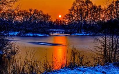 Winter Sunset Snow Sky Landscape Sun Water