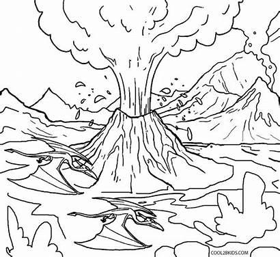 Volcano Coloring Pages Lava Printable Tsunami Tornado