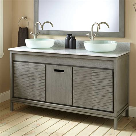 bathroom vanities and sinks 60 quot becker teak vessel sink vanity gray wash vessel