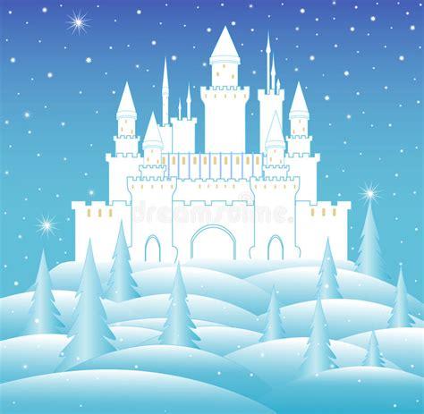 Vector Snow Queen's Castle In Frozen Winter Forest Stock