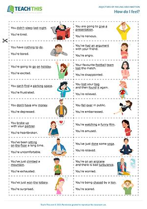 adjectives feelings emotions esl games worksheets activities