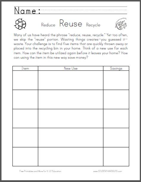 reuse worksheet for thrift week student handouts