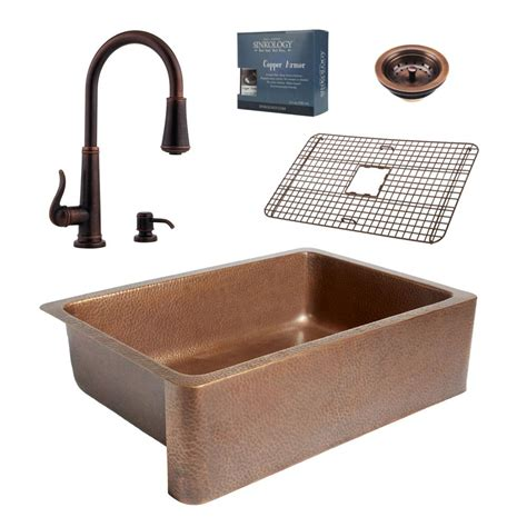 kitchen sink plumbing kit sinkology pfister all in one 33 in copper farmhouse