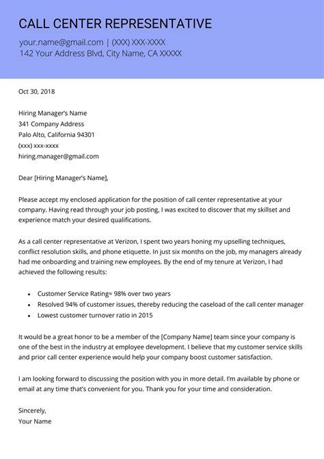 Cover Letter For Customer Service Representative Call Center by Call Center Representative Cover Letter Resume Genius