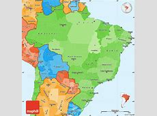 Political Shades Simple Map of Brazil