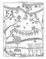 Coloring Pages Heart Cute Garden Tree Adult Amazon sketch template