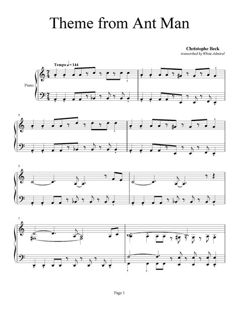 theme  ant man christophe beck piano plateau