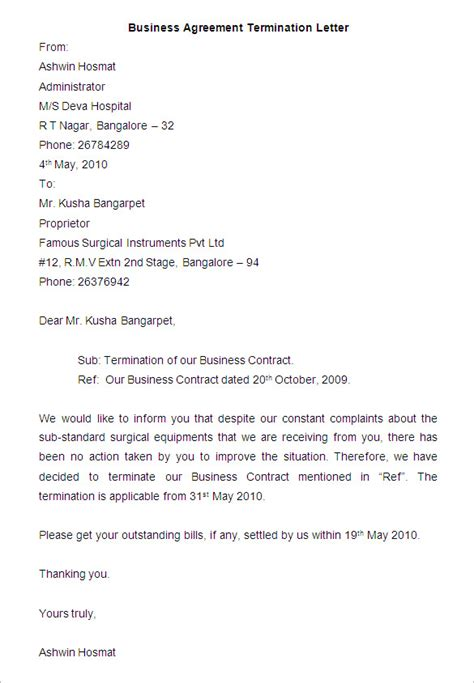 business letter sle business agreement termination letter sle 28 images