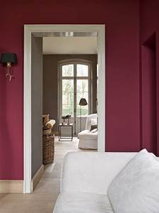 we love the cranberry wall colour and how it flows into a With raspberry bathroom paint