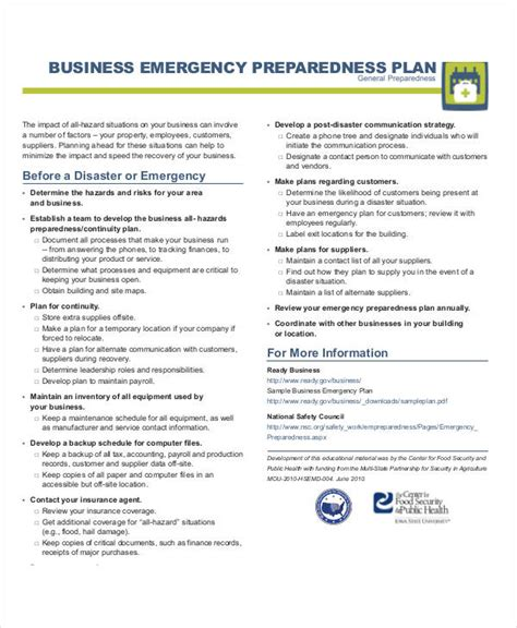 emergency plan examples   google docs