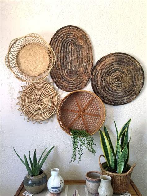 vintage oval brown woven wicker basket trivet placemat