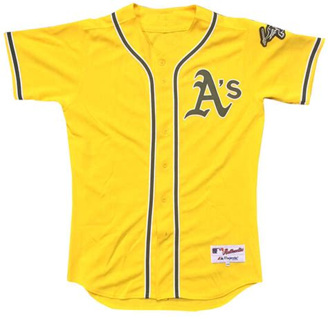 oakland athletics  game issued home yellow alt jersey