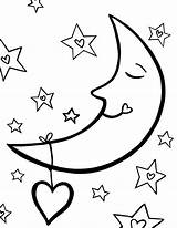 Moon Coloring Pages Stars Sleeping Sun Night Star Sky Drawing Crescent Colouring Printable Getcolorings Getdrawings Clipartmag Nightmare sketch template