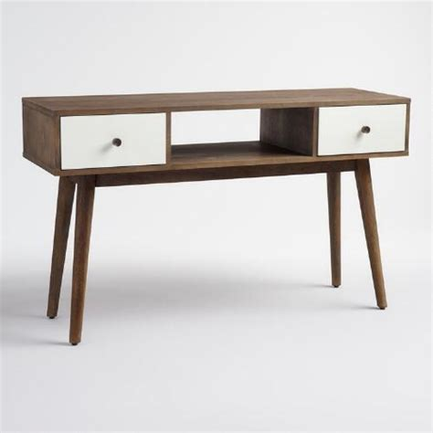 white wood console table wood and white lacquer console table world market