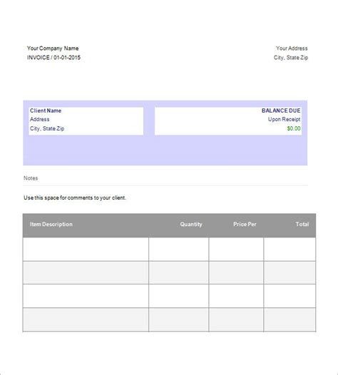 Docs Invoice Template Invoice Template Docs