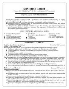 resume exles logistics logistics coordinator resume format resume format
