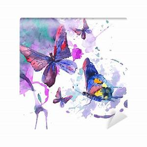Abstract watercolor background with butterflies Wall Mural ...