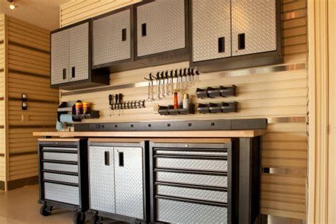 cabinets  rolling table  garage workspace stock photo