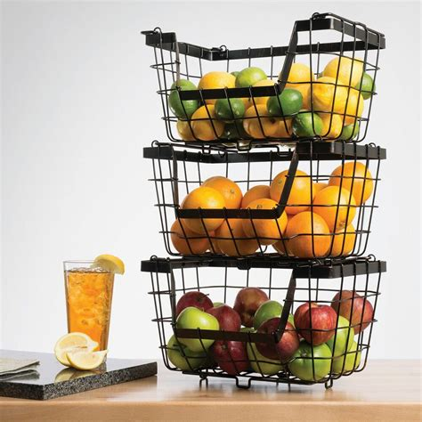 giftburg stacking basketsset  storage fruit rack