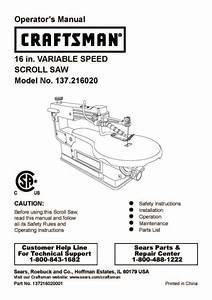 Craftsman 16 U0026quot  Variable Scroll Saw Manual Model   137