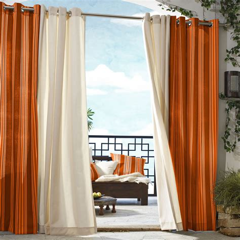 ritzy slice white and orange curtains sheer drapes