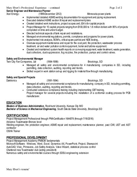 Ehs Engineer Resume by Ebert Resume Ehs Manager