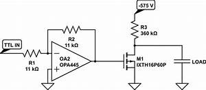 using a mosfet to switch a high voltage on a capacitive With voltage switching